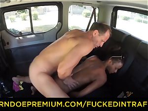 poked IN TRAFFIC interracial car tear up with torrid stunner