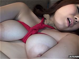 chinese huge-boobed honey tied up to be plaything pummeled