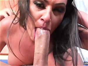 huge-boobed dark-haired gives head and gets doggy styled