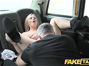 faux taxi enormous inborn bra-stuffers on ash-blonde model