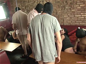 Michelle Thorne and young biotch gang-bang shag with gang