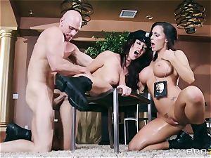 two luxurious huge-boobed Cops Jayden Jaymes and Jenna Presley Interrogate crazy Criminal