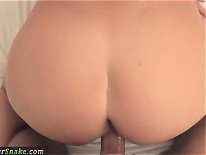 beautiful ash-blonde takes man rod doggie
