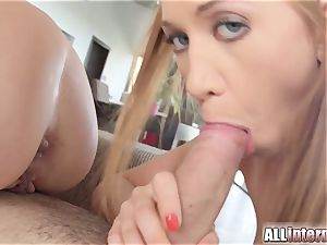 Allinternal threesome with handsome femmes and lots of cum