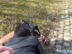 Public Agent Russian waitress screwed outside in public