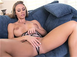 Nicole Aniston sensuously touching her fragile poon