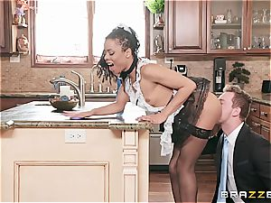 warm black maid nearly get caught