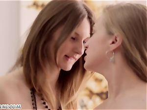 2 uber-cute ultra-cutie Ariadna and Hannah with diminutive boobs gets humped threeway