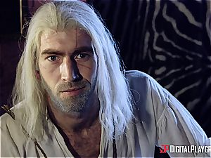 Danny D fools around as Geralt and smashes black-haired babe