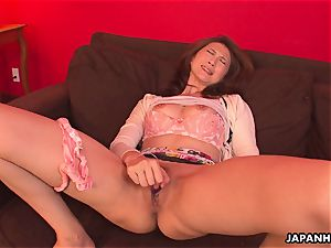 asian milf has a orgy toy session with her vag