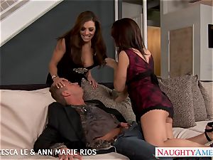 sizzling Francesca Le and Ann Marie penetrate in three way