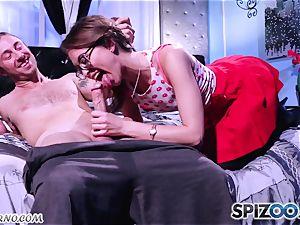 Retro porno with a young rock 'n' spin schoolgirl Riley Reid