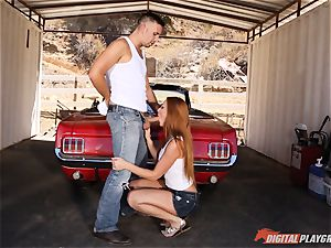 fabulous redhead Farrah Flower penetrated up against a car