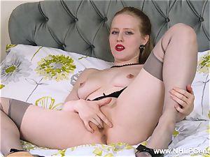 light-haired office whore fucktoys vagina in high-heeled slippers retro nylon