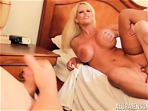 spear inhaling ultra-kinky 3some Alura Jenson and man gives a helping arm