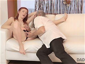 DADDY4K. messy guy thumbs girlfriend for cuckold on him with kinky daddy