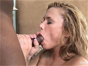 Shyla Stylez gets her cunt humped by a phat dark-hued fuck-stick