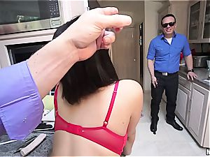 Housewife gets penetrated in front of unsighted hubby