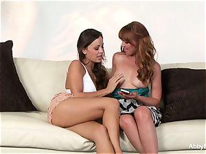 Abigail tempts her tiny redhead friend