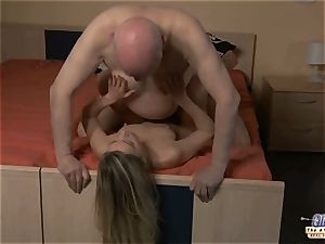youthfull assistant pummels elderly man manager plows handsome dame