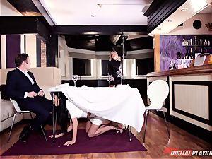 crazy Frenchwoman Anissa Kate seduces family boy under table