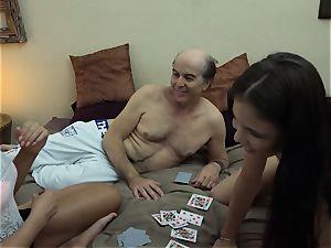 gross grandpa vs splendid nubile ladies hard-core 3some