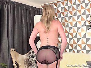 blonde frigging wet twat in antique nylons high high-heeled slippers