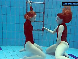 two red-hot teens underwater