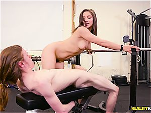 Abella Danger works out a thin man