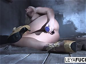 Leya Falcon tucks sex toys in both her holes