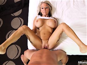 yam-sized boobies cougar gets anal drill and facial