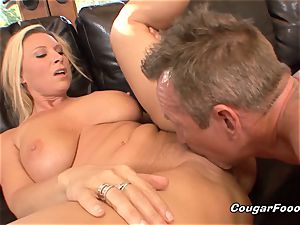 buxom milf towheaded gets doggystyled and creampied