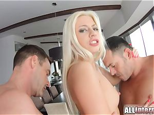 Allinternal cool light-haired in creampie threesome joy