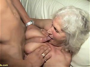 75 years senior grannie first pornography video