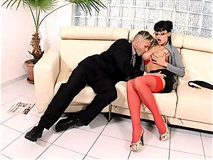 kinky secretary pummeled on a couch in underwear