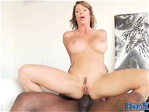 buxomy brunette Gets a dark-hued rod Up Her donk