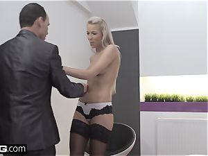 Glamkore wondrous european babe Karol Striptease for her lover