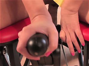 killer Lexi rides the sybian and pops rigid