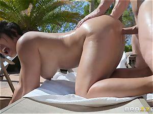 Mia Li getting drilled outdoors