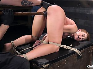 frogtied babe coochie plowed with fake penis