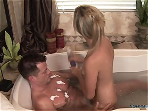 splendid blond masseuse fellates firm During massage