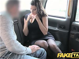 fake cab hot big-titted honey gets meaty cum shot