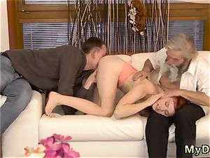 youthfull cockslut with older pulverize first-ever time unexpected experience with an older gentleman