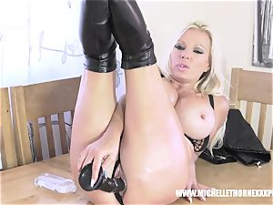 Oily blondie biker honey wanks with a giant black plaything