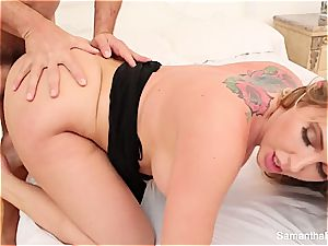 Samantha Saint gets sexually satiated by a large manhood