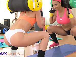 FitnessRooms two girl/girl gym pals having a workout