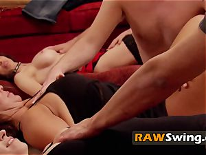 Mature duo looks forth to total exchanging in the red room