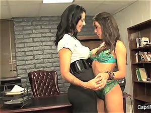 Brunettes Capri and Zoey are big-titted office lezzies