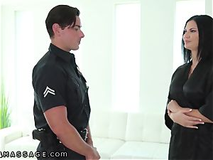 NuruMassage british cougar Jasmine Jae seduces Cop