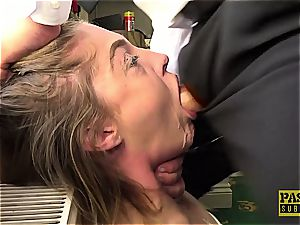 nasty nymph Rhiannon Ryder gets her coochie destroyed